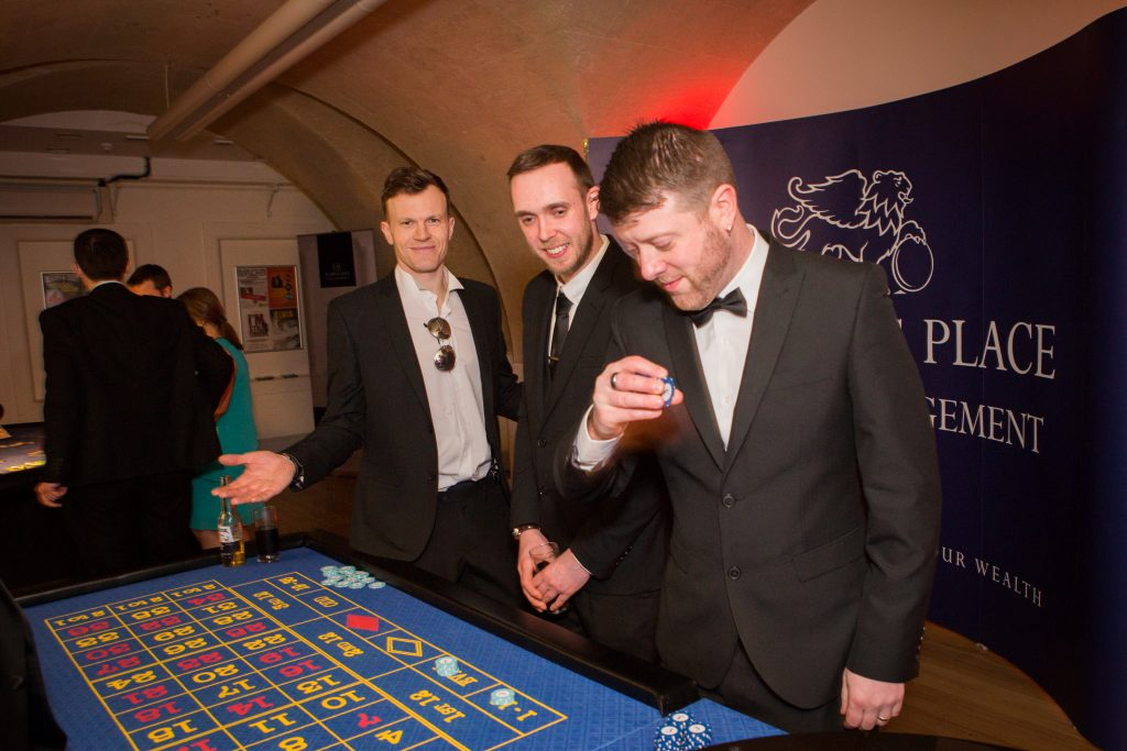 Chippenham business awards guests playing Blackjack.